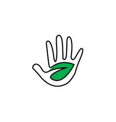 hand leaf logo design vector image
