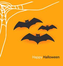 happy halloween bats spider web image vector image