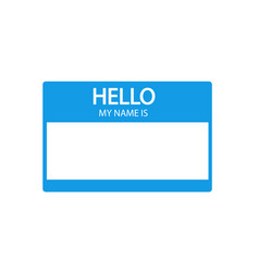 Hello my name is introduction blue flat label vector