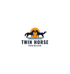 Horse with sunset silhouette logo design vector