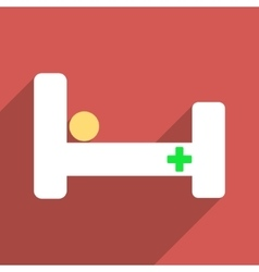 Hospital Bed Flat Long Shadow Square Icon vector image