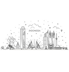 indonesia cityscape with landmarks vector image