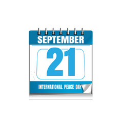International day of peace wall calendar vector
