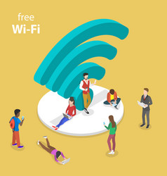 isometric flat concept of free wifi vector image