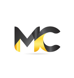 Joined or connected mc m c yellow black alphabet vector