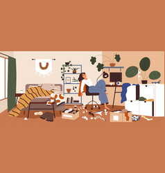 Lazy woman in messy and dirty room sluggish vector
