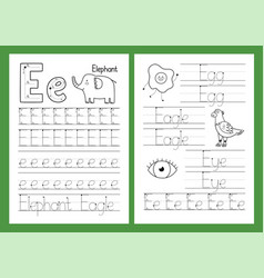 letter e tracing practice worksheet set learning vector image