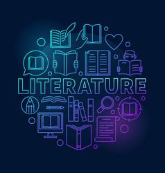 Literature round blue vector