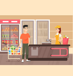 man doing grocery shopping flat vector image
