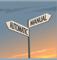 manual or automatic indication sign vector image