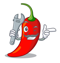 mechanic red chili pepper isolated on mascot vector image