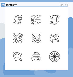 Modern set 9 outlines pictograph medical vector