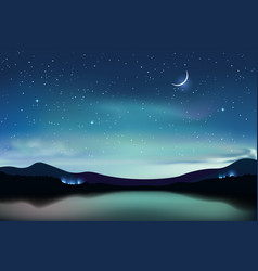 Mountain lake with dark turquoise starry sky and a vector