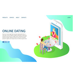 online dating website landing page design vector image