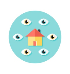 Open House Circle Flat Icon vector