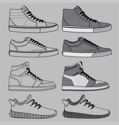 Outline shoes set vector