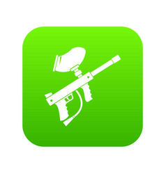 paintball marker icon digital green vector image