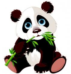 panda eating bamboo vector image vector image