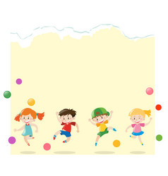 Paper template with kids playing balls vector