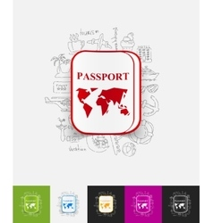 Passport paper sticker with hand drawn elements vector