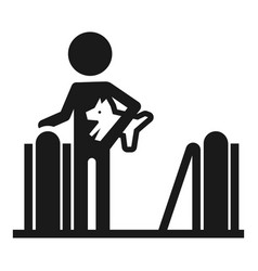 person with dog escalator icon simple style vector image
