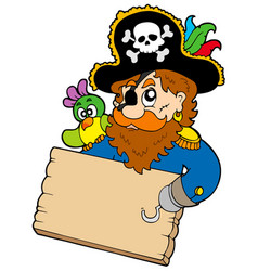 Pirate with parrot holding table vector