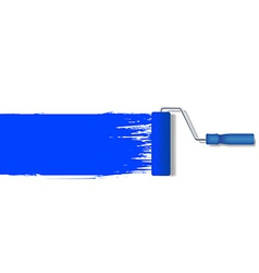 realistic paint roller painting a blue line vector image