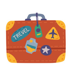 Retro leather suitcase with travel stickers vector