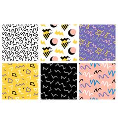 retro memphis seamless patterns set vector image