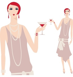Retro young beautiful girl 1920s style vector