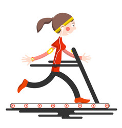 running woman on conveyor belt flat design sport vector image