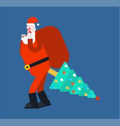 Santa christmas tree in ass ing christmas vector