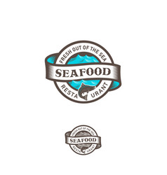 seafood restaurant logo sea waves ribbon lettering vector image