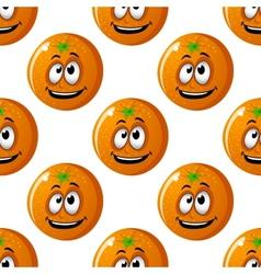 Seamless background pattern of cartoon oranges vector