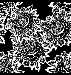 Seamless monochrome pattern of flowers vector