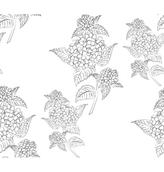 Seamless pattern black and white hydrangea flowers vector image