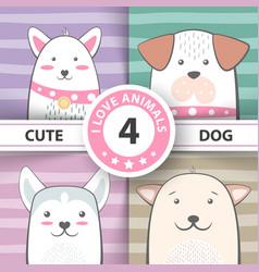 set pretty dog cartoon characters vector image