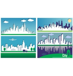 Silhouettes of the big cities vector image
