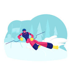 Ski slalom winter sports young man wearing vector