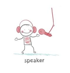 Speaker in headphones speaks into a microphone vector