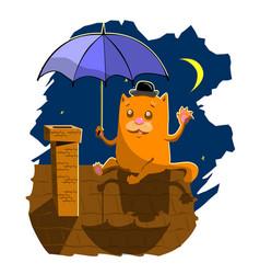 Stock cartoon cat night rooftop vector