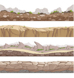 Stone road seamless rocky game backgrounds with vector