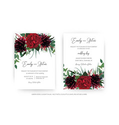 stylish burgundy red wedding invite cards set vector image