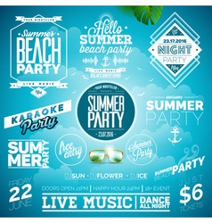 Summer Beach Party Typography set with symbols vector image