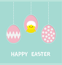 three painting egg happy easter text hanging vector image