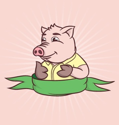 thumbs cartoon pig vector image