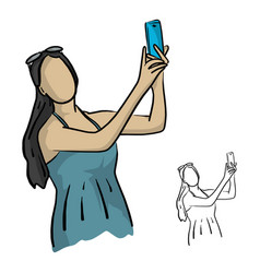 trendy woman with sunglasses is making selfie vector image