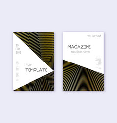 Triangle cover design template set gold abstract vector