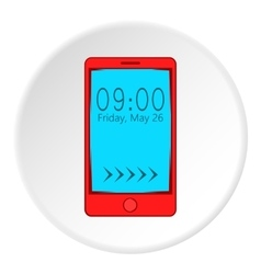 Watch on mobile phone icon cartoon style vector image