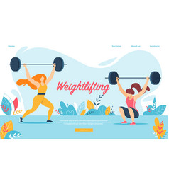Weightlifting sport women squatting with weight vector